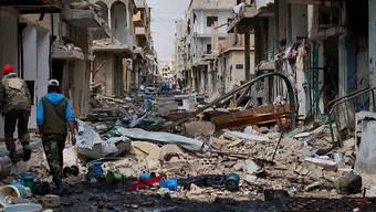 Nicht nur das antike Palmyra besteht aus Ruinen - unterdessen auch die Neustadt (Bild vom April dieses Jahres), arabisch: Tadmor. Viele Bewohner sind geflohen.