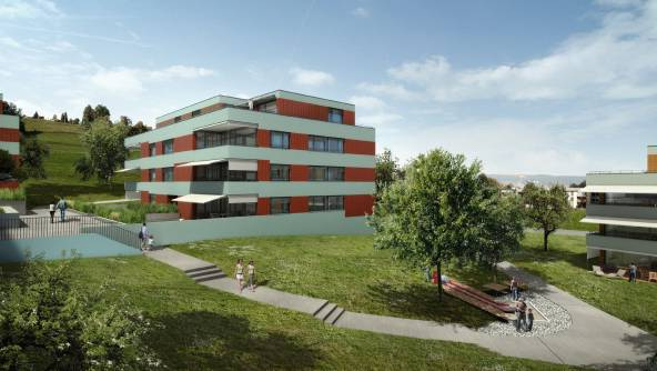 So soll die Wohnsiedlung «Im Föhret» im Jahr 2013 aussehen: Ein grünes Wohnareal mit Obstbäumen. ela