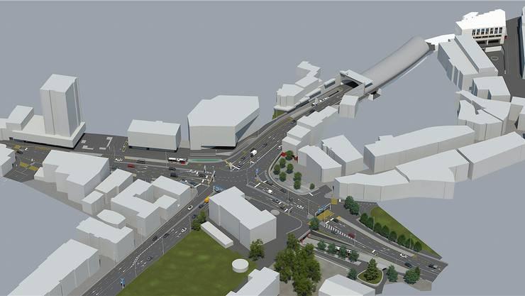 Aktuelle Visualisierung des Projekts Schulhausplatz: Sicht auf die Kreuzung mit Mellingerstrasse (links), Bruggerstrasse (oben rechts), Richtung Hochbrücke (unten rechts) und Neuenhoferstrasse.
