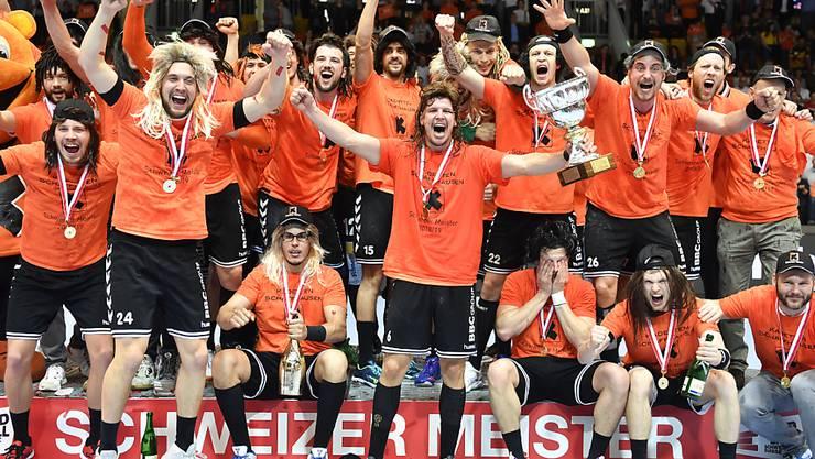 Der Jubel des neuen Meisters: Nach einem Jahr Unterbruch kehrten die Kadetten Schaffhausen an die Spitze zurück