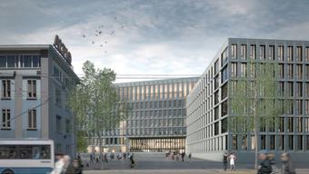 Visualisierung: So soll das neue Zürcher Polizei- und Justizzentrum aussehen.