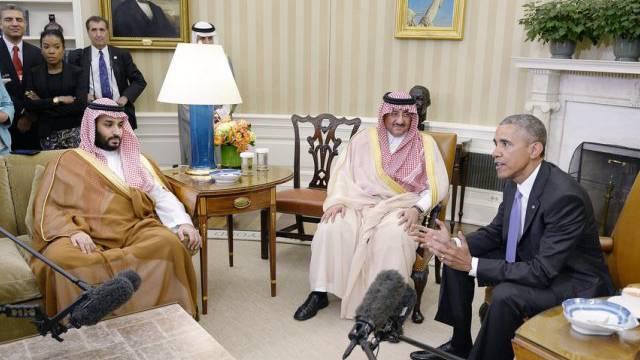 Treffen mit Mohammed bin Najef (M) und Mohammed bin Salman