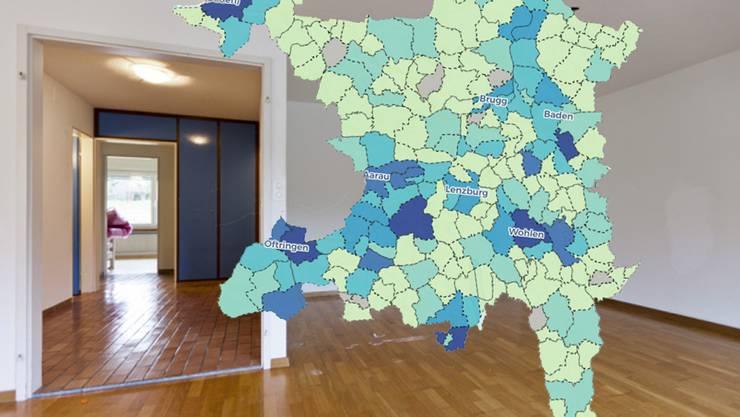 Im Aargau gibt es viele leere Wohnungen – wieviele es in Ihrer Gemeinde sind, finden Sie in der Karte.