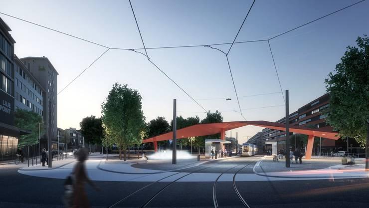 Westlich angrenzend an den künftigen Stadtplatz soll dereinst der neue Stadtsaal zu stehen kommen.