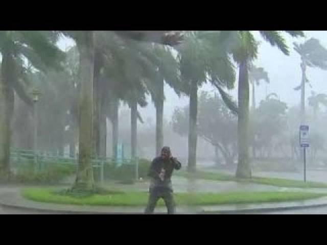 Live aus dem Sturm: TV-Reporter berichtet aus Naples, Florida, gesichert mit einem Seil.