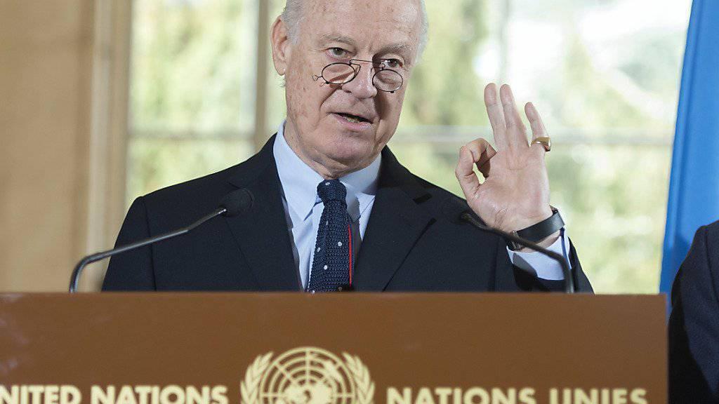 UNO-Sondervermittler Staffan de Mistura fordert für die nächste Syrien-Runde Gespräche über den politischen Übergang im Land.