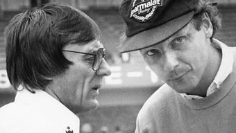 Niki Lauda (rechts) zusammen mit Bernie Ecclestone im Jahr 1980