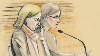 Staatsanwältin Barbara Loppacher (vorne) fordert, dass der Vierfachmörder von Rupperswil eine lebenslängliche Verwahrung und eine lebenslängliche Freiheitsstrafe bekommt.