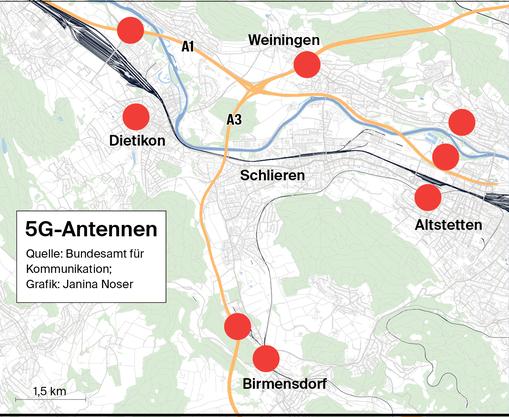 Alle 5G-Antennen im Limmattal und in unmittelbarer Umgebung. (Klicken Sie auf die Karte, um alle Standorte zu sehen)