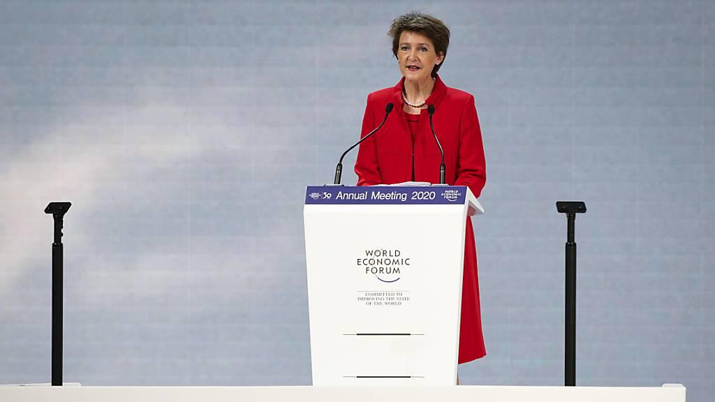 «Die Welt brennt»: Mir diesen Worten eröffnete Bundespräsidentin Simonetta Sommaruga das 50. Weltwirtschaftsforum in Davos.
