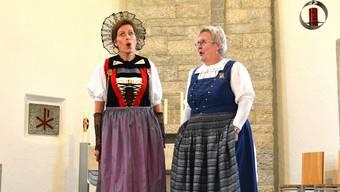 Sonja von Arx (Egerkingen/Balsthal) und Helene Wagner-Dahinden (Zofingen) waren eines von acht Duetten am Jodler-Rendezvous in Niedergösgen.