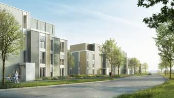 Mehrfamilienhäuser prägen einen Teil der Überbauung im Fricker Lammet-Areal.  Visualisierung/KMP-Architektur AG.