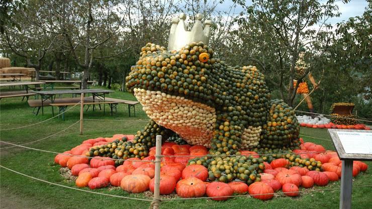 Der Erlebnisbauernhof der Jucker Farm AG in Seegräben lockt derzeit wieder mit seiner alljährlichen Kürbisausstellung. Aus Kürbissen werden ein Froschkönig...