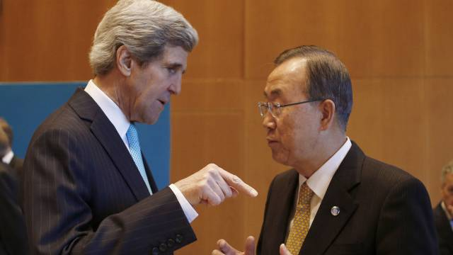 US-Aussenminister John Kerry mit UNO-Generalsekretär Ban Ki Moon