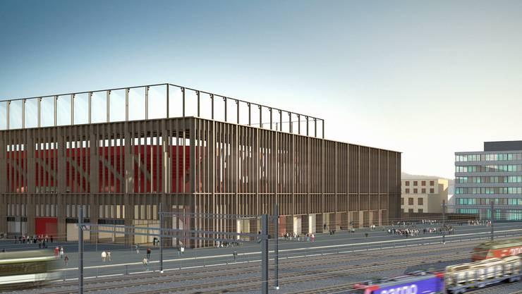 Das geplante Fussballstadion im Aarauer Quartier Torfeld Süd.
