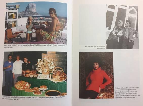 Fredy Hiestands Fotoalbum: Links mit Familie, rechts: Swetlana, die sovjetrussische Balletttänzerin.