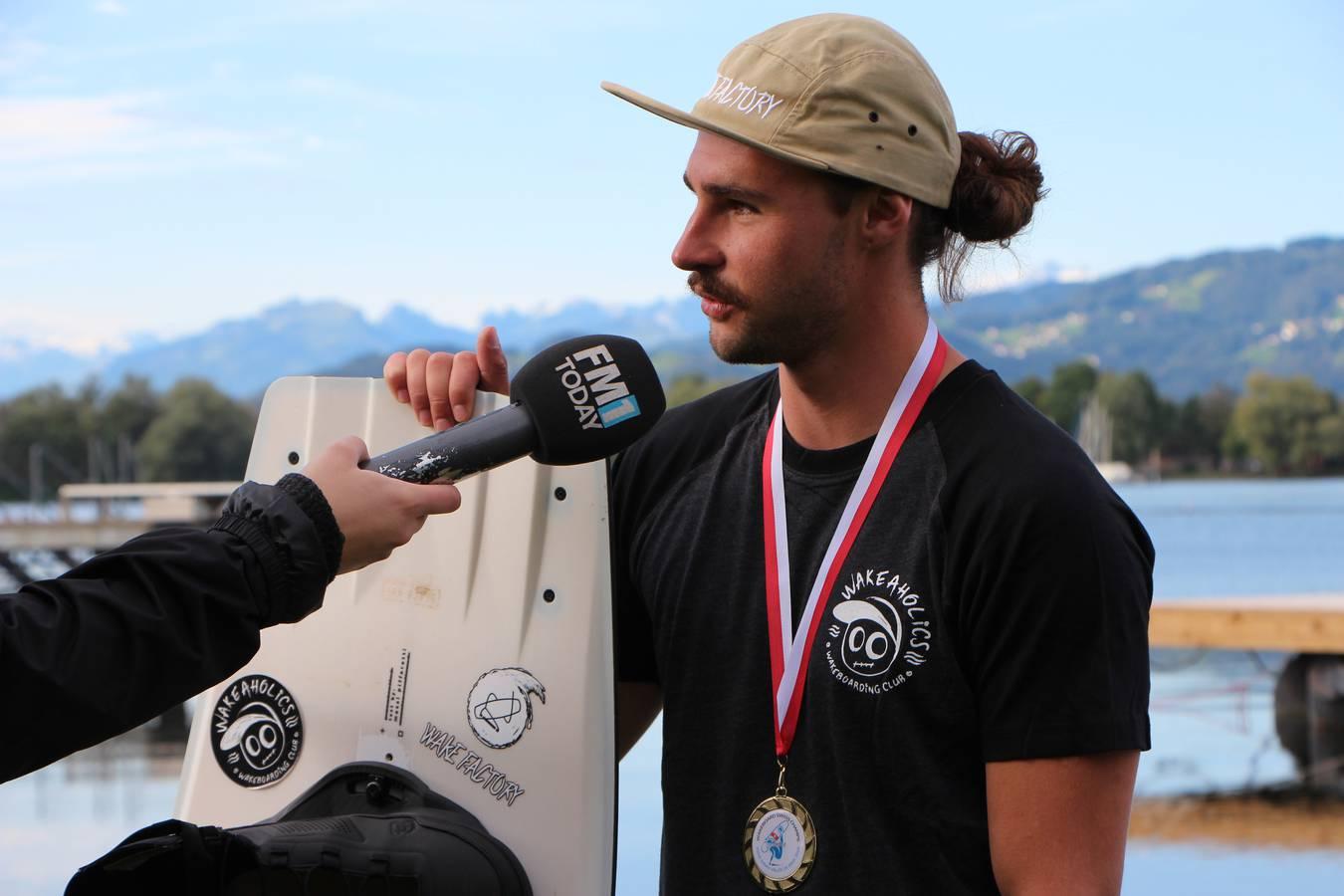 Reto Schäfler hat vergangenes Wochenende die Schweizer Meisterschaften im Wakeboarden gewonnen. (© FM1Today/Krisztina Scherrer)