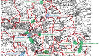In der Region werden in diesem Jahr etliche Baustellen auf den Kantonsstrassen anzutreffen sein. An mehreren Stellen (grün) wird saniert und instand gesetzt. Andernorts (blau) werden die Deckbeläge eingebracht.