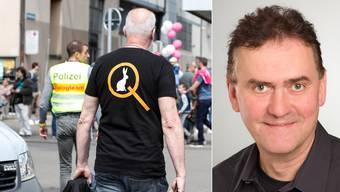 Die Verschwörungsbewegung QAnon bekommt Zulauf. Hier ein Mann mit dem Q-Logo auf seinem T-Shirt am Zürcher Sechseläutenplatz.