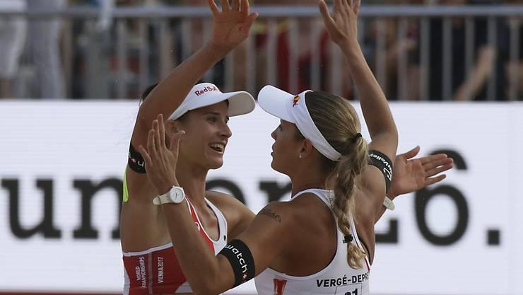 Joana Heidrich (links) und Anouk Vergé-Dépré - im Bild an der WM im letzten Jahr - stehen zum ersten Mal auf der World Tour in einem Final