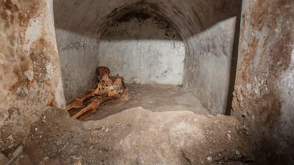 HANDOUT - Die mumifizierten Überreste von Marcus Venerius Secundio. Foto: Archäologiepark Pompeji/dpa - ACHTUNG: Nur zur redaktionellen Verwendung im Zusammenhang mit der aktuellen Berichterstattung und nur mit vollständiger Nennung des vorstehenden Credits