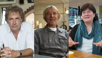 V.l.n.r.: Alex Capus, Schriftsteller und «Galicia»-Barbetreiber; Christof Schelbert, Kunstmarkt-Organisator und Kunstvereins-Präsident und Monique Rudolf von Rohr, kulturaffine FDP-Parteipräsidentin.