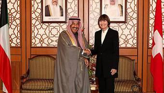 Premier Sheikh Nasser Mohammad Al Ahmad Al Sabah und Micheline Calmy-Rey