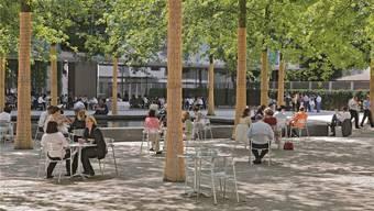 Park im Campus: Wenn es warm ist, finden hier Sitzungen statt.