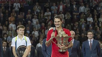 Roger Federer bei seinem Turniersieg in Basel an den Swiss Indoors.