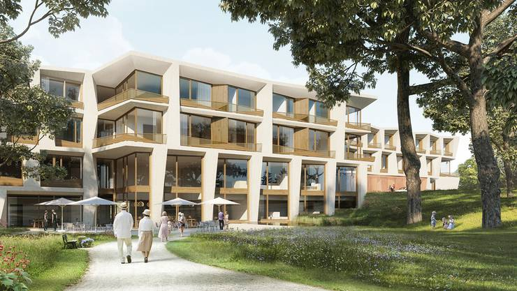 Ein Park um die Klinik Arlesheim ist weiter geplant, doch der im Wettbewerb gekürte Entwurf wird nicht gebaut. (Visualisierung/zvg)