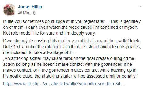 Hillers Entschuldigung auf Facebook