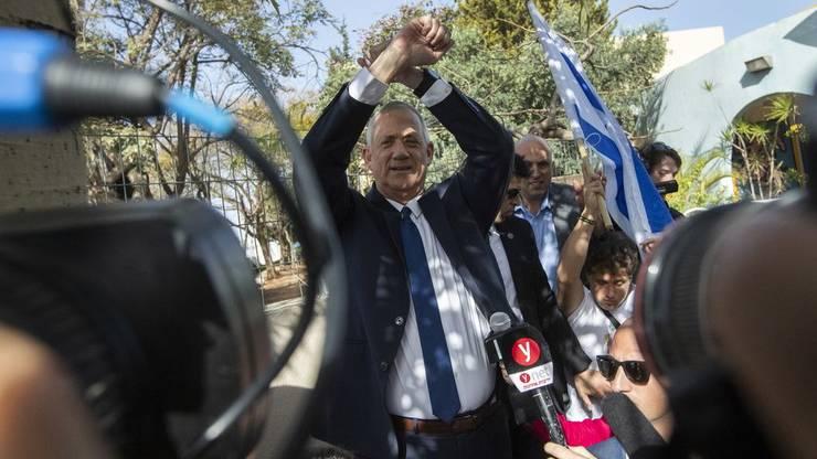 Benny Gantz bei einer Wahlversanstaltung in Beth Haayin in der Nähe von tel Aviv, wo er herkommt.