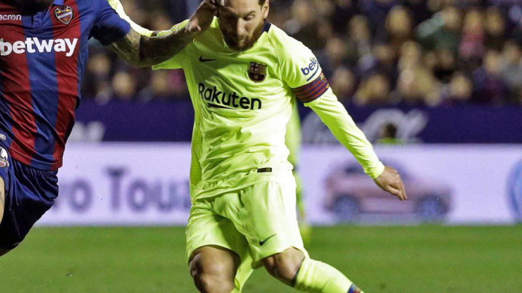 Lionel Messi war von Levante nicht zu stoppen und hatte bei allen fünf Toren seine Füsse im Spiel