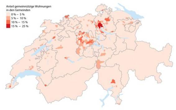 Anteil der gemeinnützigen Wohnungen in den Gemeinden.