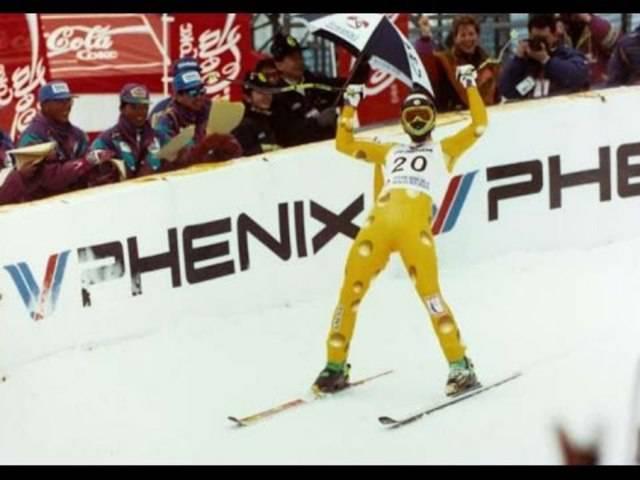 Urs Lehmann gewinnt Gold bei den Weltmeisterschaften in Morioka, Japan, 1993.