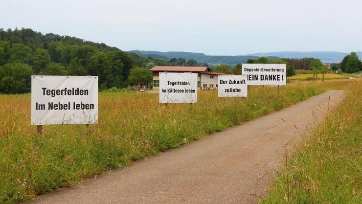 Abstimmungssonntag in Tegerfelden: Diese Plakate machten im Vorfeld Stimmung für ein Nein.
