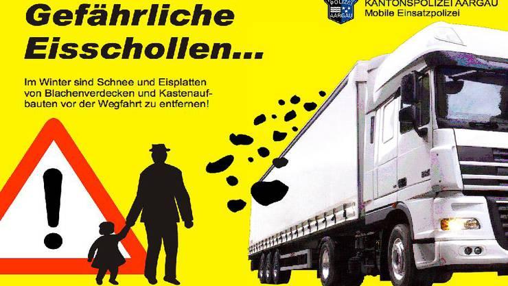 Die Kantonspolizei Aargau warnt vor Eisbrocken, die sich von Fahrzeugen lösen und als gefährliche Geschosse ein Unfallrisiko bilden