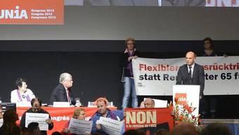 Sozialminister Alain Berset spricht vor den Unia-Delegierten
