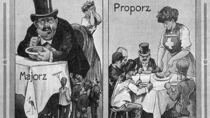 Ein Ja-Plakat für die Einführung des Proporzsystems 1918.