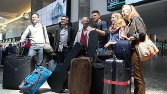 Die Schweizer ESC-ler Takasa bei ihrer Ankunft in Malmö (Facebook)