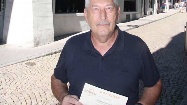 Guido Studer gewann das Nachtessen für zwei Personen im Restaurant Löwen.