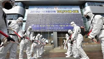 Soldaten mit Desinfektionsmitteln vor dem Sitz der «Shincheonji Church of Jesus» in Daegu. Dort hat ein grosser Teil der Infektionen in Südkorea ihren Ursprung.