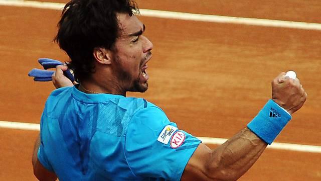 Fabio Fognini feiert seinen Sieg gegen Andy Murray