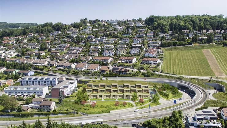Visualisierung der geplanten Überbauung Rigiblick (Bildmitte) auf der Landzunge an der Mutschellenstrasse in Zufikon.
