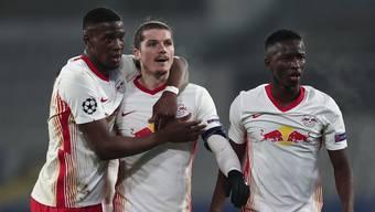 Marcel Sabitzer (Mitte) will mit Leipzig gegen Manchester United gewinnen.
