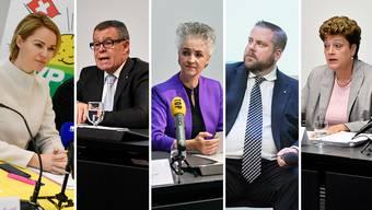 Natalie Rickli (SVP), Ernst Stocker (SVP), Carmen Walker Späh (FDP), Thomas Vogel (FDP) und Silvia Steiner (CVP) (von links)