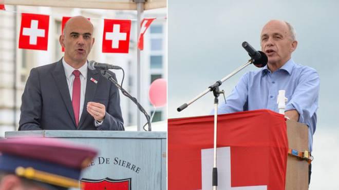 Alain Berset und Ueli Maurer bei ihren Ansprachen. Foto: Keystone