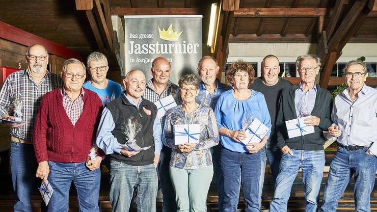 Die Gewinner des AZ-Jassturniers am 26.04.2019 im Hotel Krone in Aarburg.