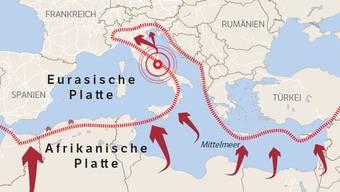 Das Mittelmehr ist tektonisch eine aktive Region.