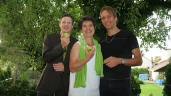 Der scheidende Parteipräsident Jonas Fricker und das neue Co-Präsidium Gertrud Häseli und Andi Thommen (v.l.)